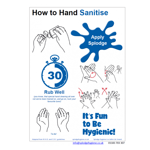 How to hand sanitise A4 poster